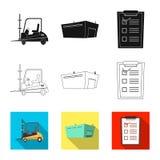 Ejemplo del vector de mercancías y del icono del cargo Colección de mercancías y de símbolo común del almacén para el web stock de ilustración