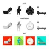 Ejemplo del vector de mercancías y del icono del cargo Colección de mercancías y de símbolo común del almacén para el web ilustración del vector