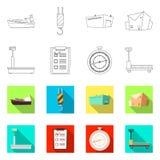 Ejemplo del vector de mercancías y de la muestra del cargo Colección de mercancías e icono del vector del almacén para la acción libre illustration