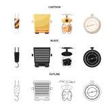 Ejemplo del vector de mercancías y del logotipo del cargo Colección de mercancías y de símbolo común del almacén para el web stock de ilustración