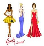Ejemplo del vector de muchachas bonitas en vestidos Foto de archivo