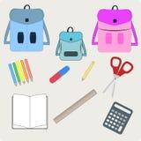 Ejemplo del vector de nuevo a las fuentes de escuela Bolsos y fuentes de escuela, equipo de enseñanza y diversa escuela ilustración del vector