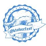 Ejemplo del vector de Oktoberfest, taza de cerveza y salchicha Imagen de archivo