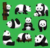 Ejemplo del vector de Panda Bear Nine Poses Cartoon stock de ilustración