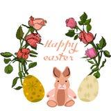 Ejemplo del vector de Pascua con los huevos, las flores color de rosa y los conejitos Excelente para el diseño de postales, de ca foto de archivo