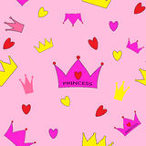 Ejemplo del vector de princesa Seamless Pattern Background Foto de archivo