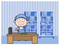 Ejemplo del vector de Repairing Circuit Board del electricista de la historieta Imágenes de archivo libres de regalías