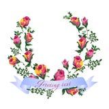 Ejemplo del vector de rosas en la guirnalda Fotografía de archivo