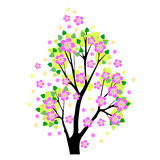 Ejemplo del vector de Sakura del árbol floreciente Imagen de archivo libre de regalías