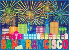 Ejemplo del vector de San Francisco Skyline Trolley Fireworks Color stock de ilustración