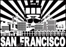 Ejemplo del vector de San Francisco Skyline Trolley Sun Rays ilustración del vector