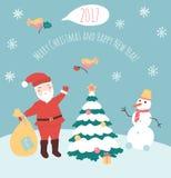 Ejemplo del vector de Santa Claus y del muñeco de nieve Foto de archivo