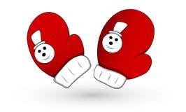 Ejemplo del vector de Santa Style Christmas Theme Gloves Imagen de archivo