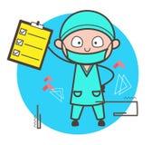 Ejemplo del vector de Showing Checklist Report del cirujano de la historieta stock de ilustración