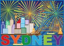 Ejemplo del vector de Sydney Australia Skyline Fireworks stock de ilustración