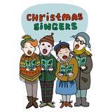 Ejemplo del vector de tres niños que cantan villancicos Foto de archivo
