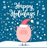 Ejemplo del vector de un cerdo sonriente feliz en la noche del Año Nuevo ilustración del vector