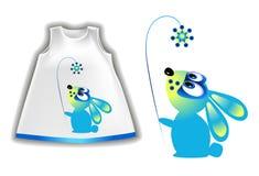Ejemplo del vector de un conejo en la ropa del bebé ilustración del vector