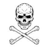 Ejemplo del vector de un cráneo y de la bandera pirata Fotografía de archivo libre de regalías