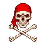 Ejemplo del vector de un cráneo y de la bandera pirata Imagenes de archivo