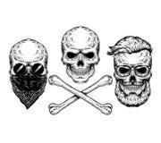 Ejemplo del vector de un cráneo y de la bandera pirata Imágenes de archivo libres de regalías