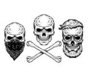 Ejemplo del vector de un cráneo y de la bandera pirata Imagen de archivo libre de regalías