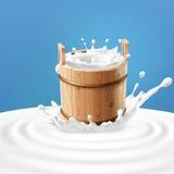 Ejemplo del vector de un cubo de madera con la leche que se coloca en el centro de un chapoteo de la lechería stock de ilustración