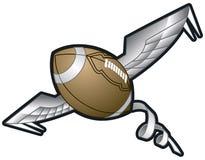 Ejemplo del vector de un fútbol que tuerce en espiral con las alas Imagenes de archivo