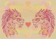 Ejemplo del vector de un garabato chino del dragón Amor Fotografía de archivo libre de regalías