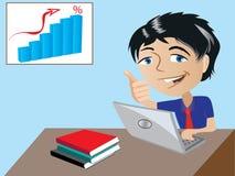 Un hombre de negocios feliz de la historieta ilustración del vector