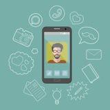 Ejemplo del vector de un hombre en la exhibición del smartphone con diversos iconos de las opciones del teléfono en estilo plano Fotografía de archivo
