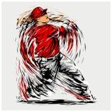 Ejemplo del vector de un jugador de béisbol Imagen de archivo libre de regalías