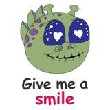 Ejemplo del vector de un monstruo de la historieta Impresión de la historieta Déme una sonrisa stock de ilustración