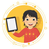 Ejemplo del vector de un muchacho con una tableta Imagenes de archivo