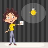 Ejemplo del vector de un niño que enciende la luz Imagenes de archivo