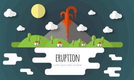Ejemplo del vector de una erupción volcánica Paisaje hermoso de la montaña, cielo, nubes, estrellas, casas del pueblo Diseño plan stock de ilustración