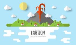 Ejemplo del vector de una erupción volcánica Paisaje hermoso de la montaña, cielo, nubes, estrellas, casas del pueblo Diseño plan libre illustration