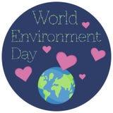 Ejemplo del vector de una etiqueta engomada para el día del ambiente mundial stock de ilustración