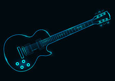 Ejemplo del vector de una guitarra de neón Ilustración del Vector