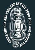 Ejemplo del vector de una lámpara de keroseno con la cuerda libre illustration
