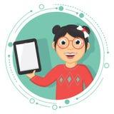 Ejemplo del vector de una muchacha con una tableta Foto de archivo