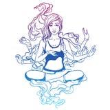 Ejemplo del vector de una muchacha de la yoga en una actitud del loto La muchacha es imágenes de archivo libres de regalías