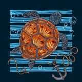 Ejemplo del vector de una tortuga de mar Impresión en el tema del mar fotos de archivo