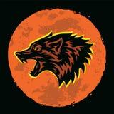 Ejemplo del vector de Wolf Howling Logo Moon Background imagen de archivo libre de regalías
