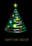 Ejemplo del vector del árbol de navidad adornado Concepto del invierno Tema del Año Nuevo stock de ilustración