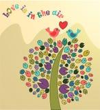 Ejemplo del vector del árbol y de pájaros coloreados fotos de archivo