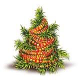 Ejemplo del vector del abeto de la Navidad en blanco Imagenes de archivo