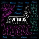 Ejemplo del vector del alfabeto de los símbolos de música Fotos de archivo