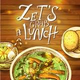 Ejemplo del vector del almuerzo Foto de archivo libre de regalías