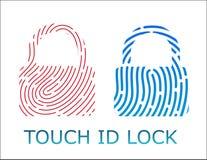 Ejemplo del vector del app de la cerradura de la identificación de la huella dactilar del tacto Imágenes de archivo libres de regalías